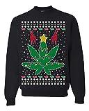 Funny 4/20 Weed Ugly Christmas Sweater | Marijuana Lit Deer Pot Leaf Xmas Lights | Mens Ugly Christmas Sweater Crewneck Graphic Sweatshirt, Black, X-Large