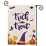 UPINLOOK Trick or Treat Gartenflagge, vertikal, doppelseitig, Herbst, Halloween, Jute, Candy, Kürbis, Totenkopf, Fledermaus, Außendekoration, 31,8 x 45,7 cm