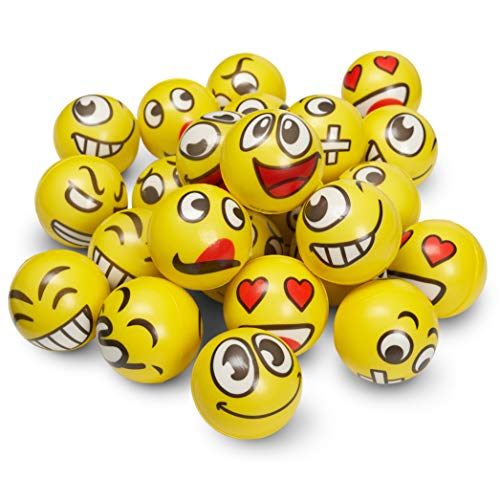 THE TWIDDLERS 24 Bolas de Emoji Squeeze Antiestrés para Niños y Adultos