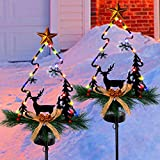 MAGGIFT Christmas Outdoor Solar Stake Lights, 47.5 Inch Large Solar Powered Yard Decorations, Multicolor Copper Wire LED Xmas Pathway Lights, Metal Xmas Tree Garden Stakes Lawn Ornament, Set of 2
