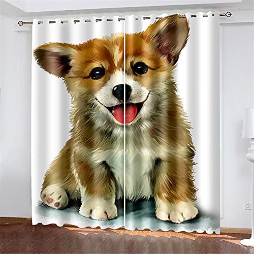 FACWAWF El Patrón De Perro Impreso En 3D Tiene Un Buen Efecto De Aislamiento Térmico Y La Forma De Onda Se USA para Cortinas De Balcón En La Sala De Estar, El Dormitorio Y El Estudio. 132x160cm(2pcs)