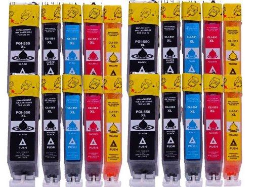20 kompatible Druckerpatronen XL mit CHIP und Füllstandsanzeige für Canon Pixma MG7550 MG7150 MG6650 MG6450 MG6350 MG5650 MG5550 MG5450s MG5400 MG5450 IP7250 IP8750 IX6850 MX725 MX925 Patronen kompatibel zu je 4 x PGI-550 4 x CLI-551BK 4 x CLI-551C 4x CLI-551M 4 x CLI-551Y