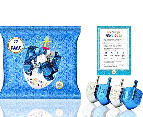 Hanukkah Plastic Silver & Blue Metallic Dreidels (10-Pack)