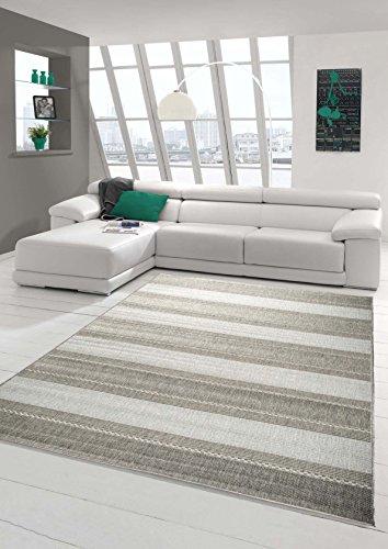 Tappeto moderno a righe, tessuto piatto, effetto sisal, da cucina, grigio, Grau, 80 x 200 cm
