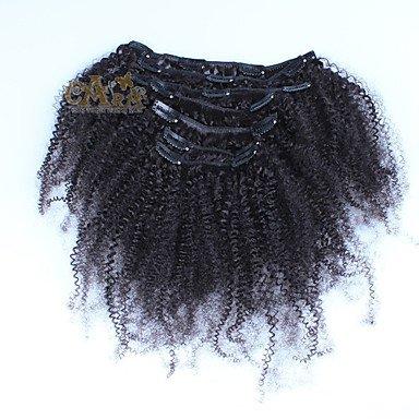 MZP cheveux bouclés Peruvian pince afro crépus dans les extensions de cheveux humains 7pcs / set tête ensemble complet de couleur noire naturelle , 12 inch
