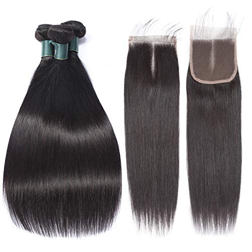Straight Brazilian Bundles with Closure 8A Virgin Human Hair Bundles with Middle Part Lace Closure 100% Unprocessed Brazilian Straight Hair with Closure Best Hair Great Grace Hair Weaves 20 22 24+18