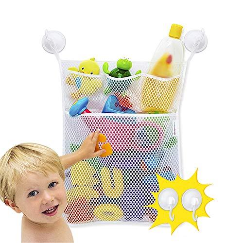 JUNSHEN Schlechte Spielzeuge Tasche (46x33CM) mit 4 Saugnäpfen, Multi funktionale waschbar Mesh Badespielzeug Organizer,kinder wasserspielzeug organizer badewanne.