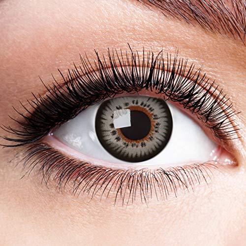 Farbige Kontaktlinsen Grau Motivlinsen Ohne Stärke mit Motiv Graue Linsen Halloween Karneval Fasching Cosplay Anime Kostüm Grey Butterfly Effect Doll Eyes
