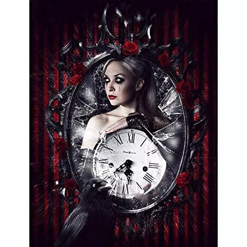 5D DIY diamante pintura Lady Crow espejo reloj imagen diamante bordado punto de cruz costura mosaico artesanías decoración del hogar regalos-30X40CM