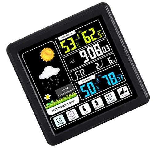 Xinjieda Full-Touchh inalámbrica Meteorológica Reloj Color de Interior Temperatura Exterior medidor de Humedad de Apoyo Siete Idiomas