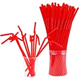 ADXCO 120 Pieces Christmas Extra Long Flexible Straws Colorful Drinking Straws for Christmas New Year Party Accessories
