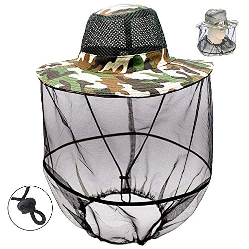ZZWIF Mosquito Head Net Hat Camo Sun Hat Beekeeper Hat with Insect Repellent Netting Protection from Bug Bee Mosquito for Summer Outdoor Fishing Gardening Camping Hiking Beekeeping (Camo Green)
