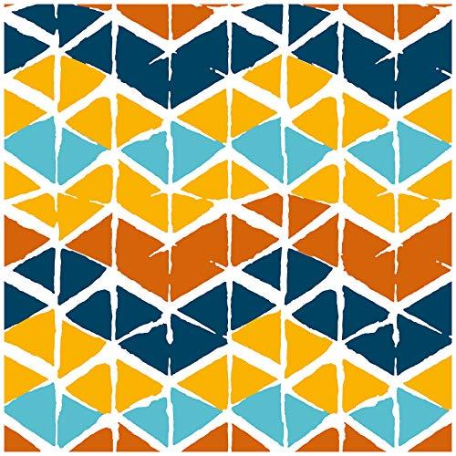 HaokHome 96037 Papel pintado de espiga geométrica blanco/azul azulado/azul marino/amarillo papel de contacto extraíble para decoración de baño del hogar, 45 x 299 cm