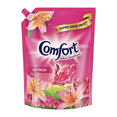 Comfort After Wash Fabric Conditioner refill pouch, super saver pack Lily fresh variant for all day freshness and lasting fragrance. 2 L