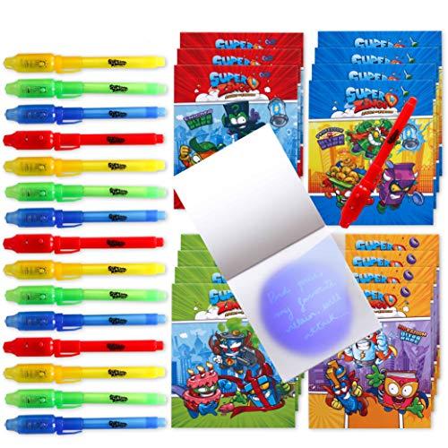 BONNYCO SuperZings - Bolígrafo Tinta Invisible y Libreta Pack x 16 Cumpleaños Niños Colegio, Detalles Cumpleaños Infantiles o Relleno Piñata | Regalos para Niños en Comunión y Boda