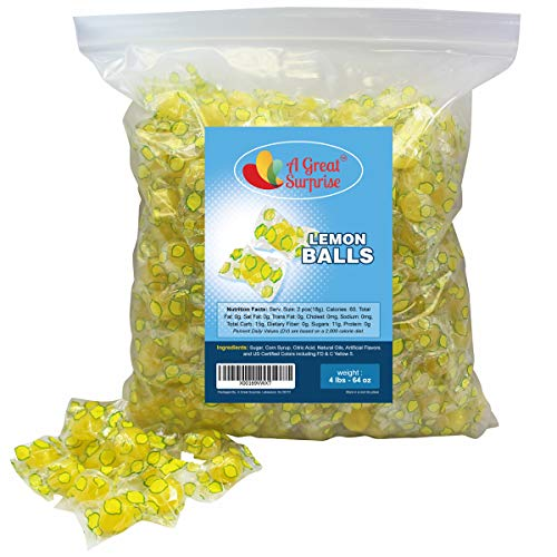 Sour Lemon Drops Hard Candy - Old Fashioned Candy - Individually Wrapped - Yellow Candy - Bulk Candy, 4 LB Party Bag, Family Size