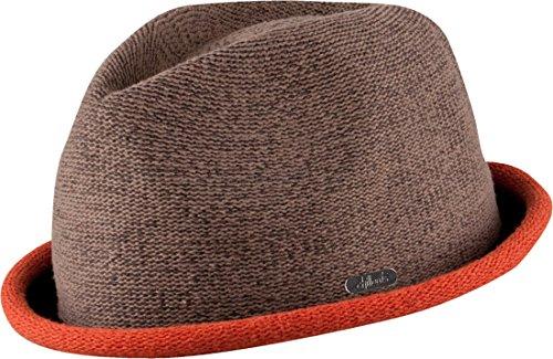 Feinzwirn FEINZWIRN Boston - moderner Trilby Hut in 4 Farben mit farbig abgesetzer Krempe - Top Qualität (braun/orange-L-XL)