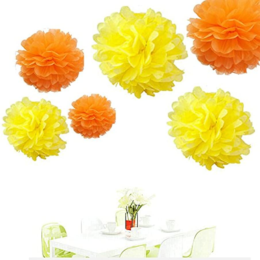 Since ? 12pcs Orange & Yellow Tissue Paper Pom Poms Pompoms Paper Flower Balls Mixed Sizes Birthday Baby Shower Party Decoration
