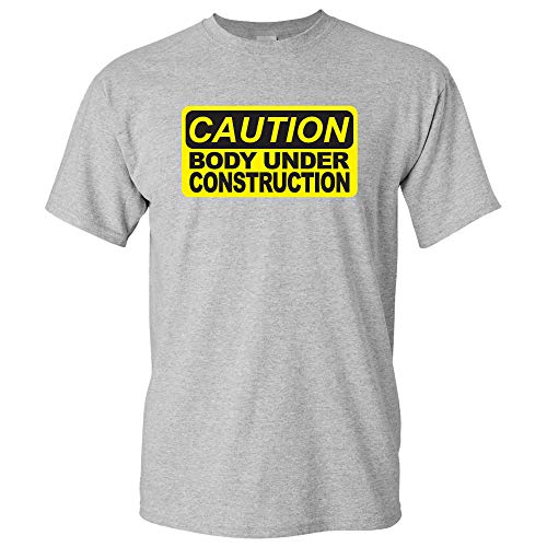 UGP Campus Apparel Body Under Construction - Funny Workout T Shirt - Large - Sport Grey