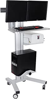 Dual Monitor Computer Printer PC Mobile Rolling Cart Workstation Gray