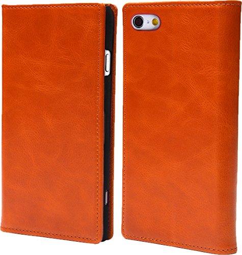 steady advance 最高級 本革 (牛革) iPhone5 iPhone SE アイフォン 用 スマホ ケース 手帳型 < 硬度 9H 強化 ガラスフィルム > セット マグネット式 (iPhone 5 SE, キャラメル)
