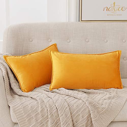 Deconovo Fundas para Cojines de Almohada del Sofá Cubierta Suave Decorativa Protector para Hogar 30 x 50 cm 2 Piezas Amarillo Oro