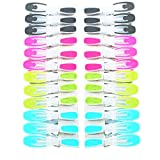 Sturdy Non Slip Wide Open Plastic Clothespins for Air Drying Clothes 1 Pack. 6 Grey, 6 Pink, 6 Blue, 6 Green