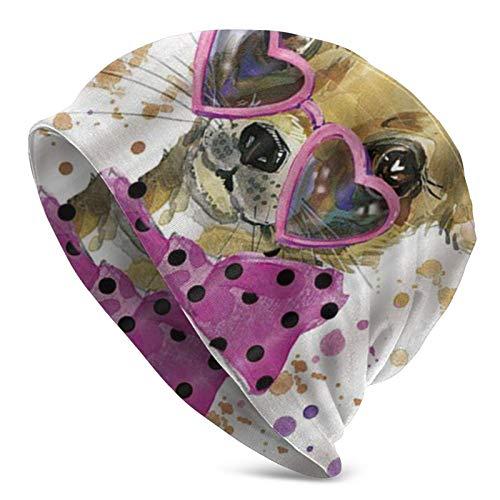 AEMAPE Gorro de Calavera Chihuahua con Gafas en Forma de corazón Sombrero de Punto para Adultos Beanie Hat Jerseys para Hombres y Mujeres