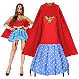GGOODD Wonder Woman Disfraz de Halloween Carnaval Party Capa roja con falda Superwoman Conjunto de uniforme XL