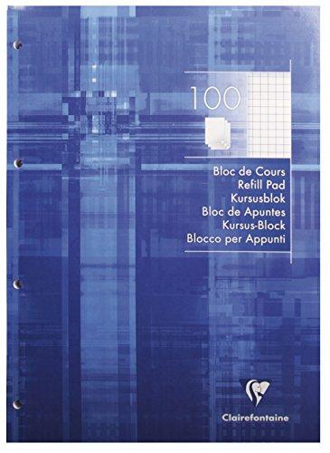 Clairefontaine 5816C Kursusblock (mit 100 Blatt, kariert, DIN A4, 21 x 29,7 cm, 100 Blatt, ideal für die Schule) 1 Stück weiß