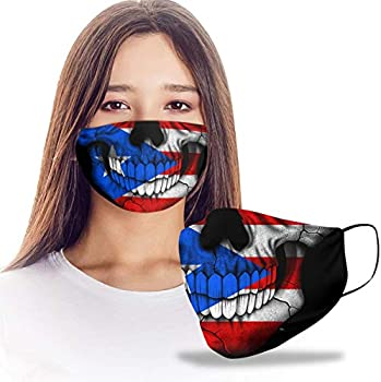 VTH GLOBAL Puerto Rican Skull Coat of Arms Puerto Rico Flag Design Print Cloth Reusable Washable Face Mask Women Men for Dust Protection