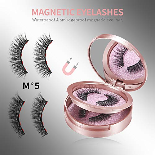 Magnetic Eyeliner and Lashes - 2 Pairs Reusable Magnetic Eyelashes & Magnetic Eyeliner with Tweezers Kit, Magnetic Lashes No Glue Needed