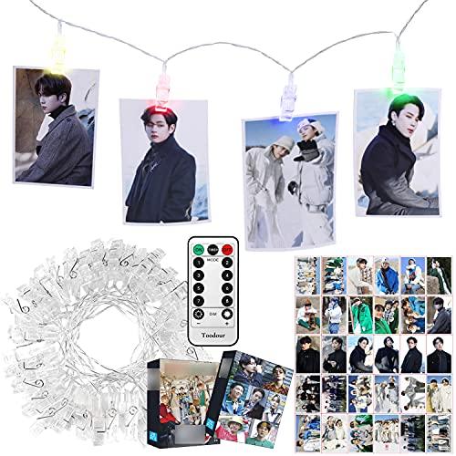Kpop BTS Merchandise 4 Colors LED Clip Light with Big Photocards, Control remoto...