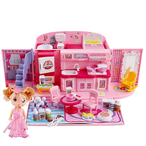 deAO 2-in-1-Spielset für Kinder in Rosa mit tragbarem Puppenhaus, Licht- und Musikfunktionen, Zubehör, Tragetasche und Puppe - tolles Geschenk für Kinder