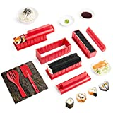 Virklyee Sushi Maker Kit 10 PCS DIY Sushi Set Sushi Making Tools 5 UnicheSushi corredo del creatore Sushi Roll Maker Stampo Facile da Usare Set di Sushi Sushi Kit (Rosso)