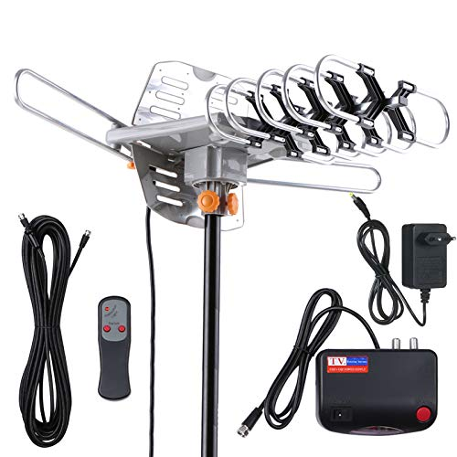 KKmoon Antenna TV Digitale Amplificata per Esterni 150 Miglia con Cavo Coassiale 33 piedi Supporto 2 TV-UHF VHF 1080P 4K Rotazione 360 Gradi per Tutti i TV con Telecomando Resistente Alle Intemperie