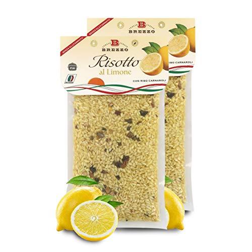Preparato per Risotto al Limone con Riso Carnaroli Italiano, 2 Buste Sottovuoto, Singola Busta: 300 Grammi (3/4 Porzioni)