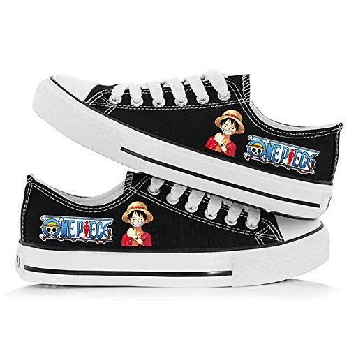 XYUANG One Piece Luffy/Roronoa Zoro Anime Zapatillas Zapatos de Lona con Cordones Zapatillas de Deporte Sneakers Unisex Adulto E-41