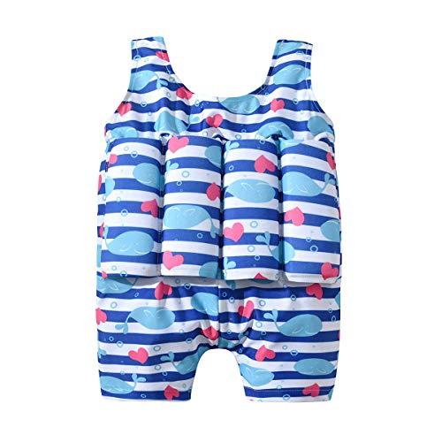 BenCreative Kinder Mädchen Schwimmen Einteiliger Badeanzug Abnehmbarer Auftrieb Little Whale Printed Swimwear Blue 130cm/6-7Y