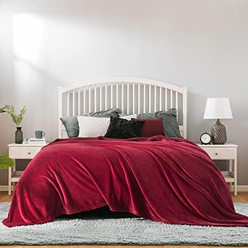 Bedsure Coperta Pile Matrimoniale 220x240cm - Plaid Divano Super Morbido, Coperta Flanella Letto Matrimoniale Rosso