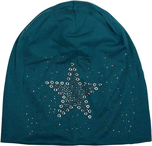 styleBREAKER Damen Stoff Beanie Mütze mit Stern Nieten und Strass Applikation, Lochnieten, Longbeanie 04024049, Farbe:Petrol