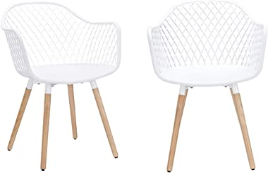 CangLong Easily Assemble Mid Century Molded Plastic Shell Arm Hollow Out Chair for Living, Bedroom, Kitchen, Dining, Waiting