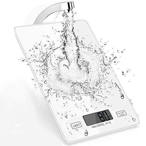 Inroserm Küchenwaage Digital, 5kg Küchenwaage Digitalwaage Haushaltswaage Digital mit Gehärtetem Glas, LCD Display und Tara-Funktion Essenswaage 1 g Richtigkeit (Weiß)
