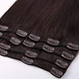 Clip in 100% Real Remy Human Hair Extensions Silky Straight Full Head 8