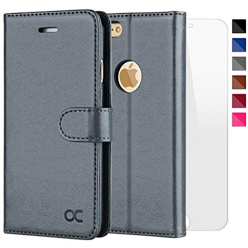 OCASE iPhone 6 Hülle Handyhülle iPhone 6S [ Gratis Panzerglas Schutzfolie ] [Premium Leder] [Standfunktion] [Kartenfach] [Magnetverschluss] Schlanke Leder Brieftasche für Apple iPhone 6/6S Grau