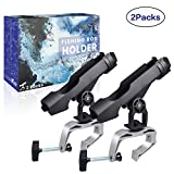 AresKo Fishing Boat Rod Holder, Fishing Rods Holder, Fishing Rod Racks with 360 Degree Adjustable Large Clamp (2 Pack)