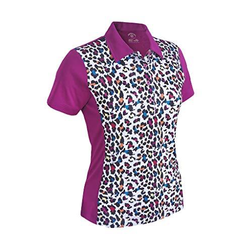 Monterey Club Women's Pro Leopard Print Block Polo Shirt #2350 (Mulberry/White, Large)