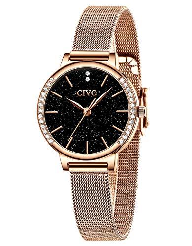 CIVO Relojes para Mujer Resistente Reloj de Pulsera Oro Rosa de Azul Cielo Estrellado Vestido Malla de Acero Inoxidable Relojes Cuarzo Analógicos Diseño Casual Elegantes para Niñas