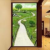 Wuyyii 写真の壁紙3Dステレオスプリングシェードのグリーンロードエントランスロードリビングルームの装飾の壁紙Murals-250X175Cm