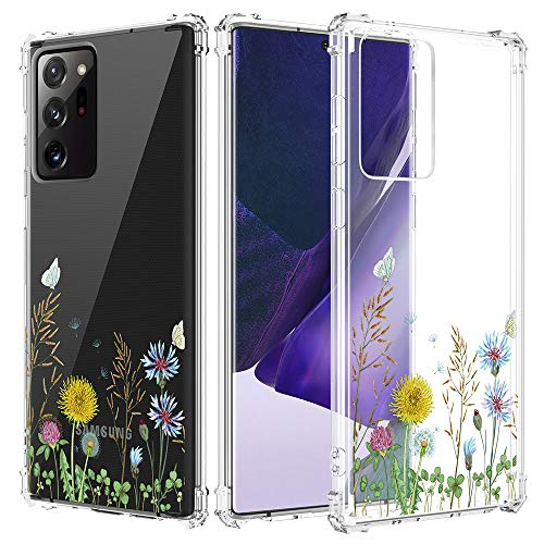 Caka Galaxy Note 20 Ultra Case, Galaxy Note 20 Ultra Clear with Design, Note 20 Ultra Case Floral Clear Flowers Pattern for Girls Women Girly Soft TPU Case for Galaxy Note 20 Ultra -Wildflower